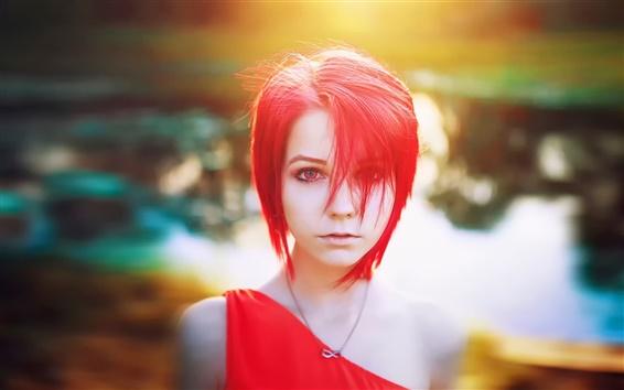 Wallpaper Red hair girl, red dress