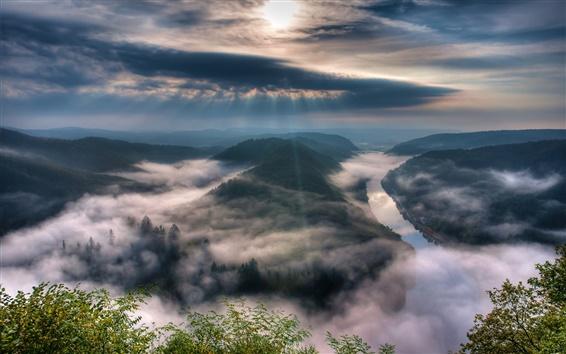 Fond d'écran Sarre, Allemagne, brouillard, ciel, rivière, matin