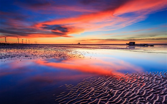 Wallpaper Sea, beach, sunset, boats, red sky