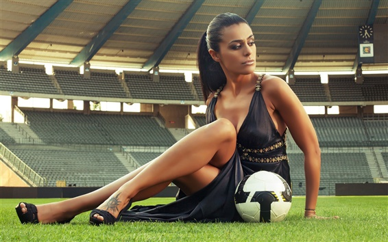 Wallpaper Sexy girl, football, stadium