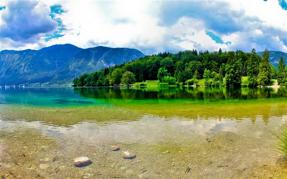 Wallpaper Slovenia, mountains, summer, river, sky, clouds, beautiful nature