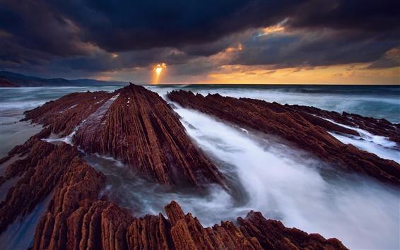 壁紙 スペイン、大西洋、岩、海、水の流れ、空、雲