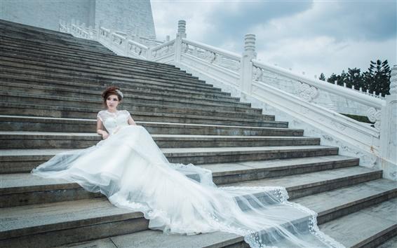 Обои Лестницы, белое платье девушка, невеста, свадьба