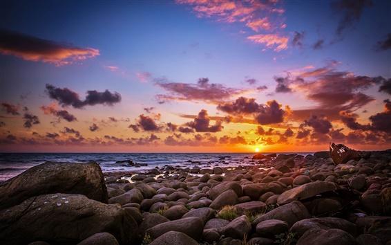 Wallpaper Stones, sea, beach, sunrise, sun, morning