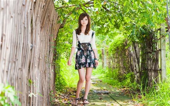 Wallpaper Summer asian girl, trees, green, fence