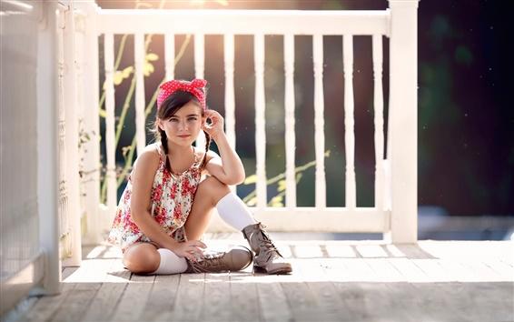 배경 화면 여름, 햇빛, 귀여운 소녀