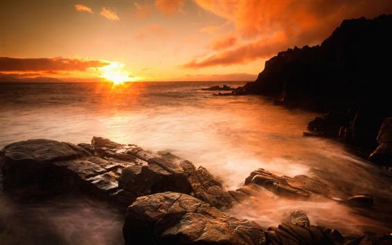 Wallpaper Sunset sea, beach, rocks, stones, clouds