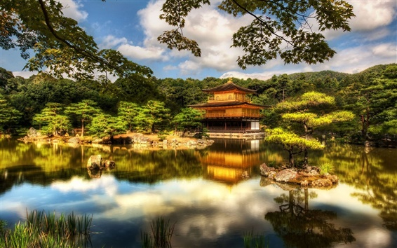 Wallpaper Temple, pavilion, Kyoto, Japan, trees, lake