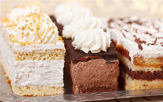 Обои Три вида торты, пирожные, крем