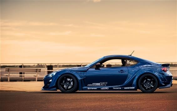 Fond d'écran Toyota GT86 bleu sport vue de côté de la voiture