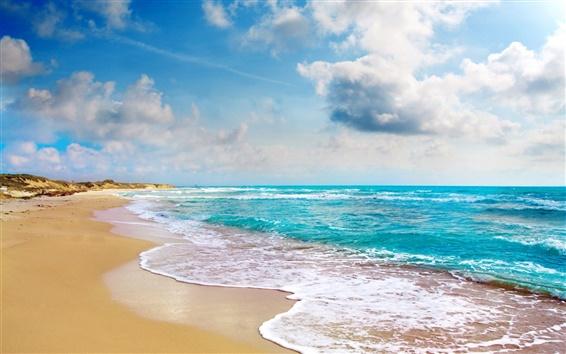 壁紙 熱帯の風景、ビーチ、海岸、青い海、雲