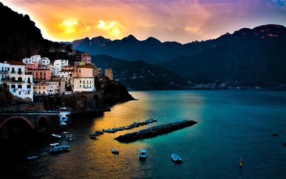 Wallpaper Tyrrhenian Sea, Amalfi, Italy, houses, sea, mountains, sunset, dusk
