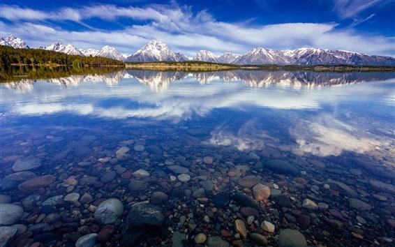 Wallpaper USA, Wyoming, National Park Grand Teton, Lake Jackson, water reflection