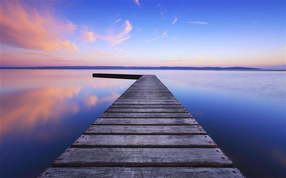 Fondos de pantalla Reino Unido, Inglaterra, lago, agua, puente de madera, por la noche