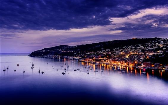 Wallpaper Villefranche, France, evening, city, sea, lights, houses, dusk