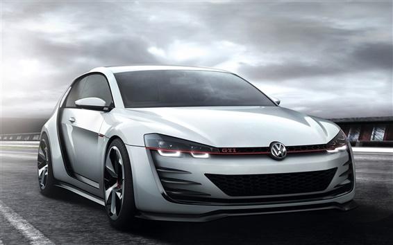 Wallpaper Volkswagen Golf GTI white car