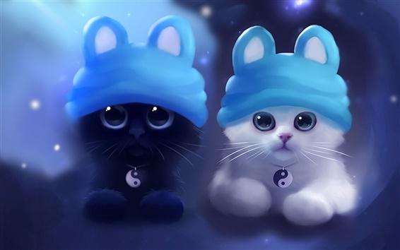 Fond d'écran Aquarelle sur papier, chaton blanc noir