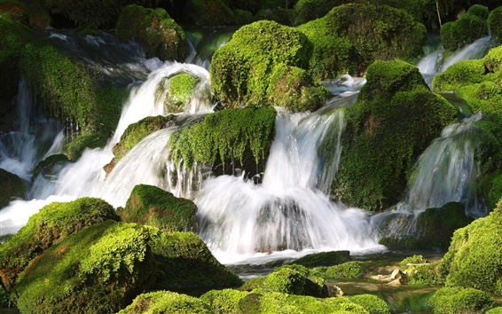 Wallpaper Waterfall, stones, moss