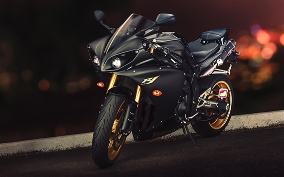 Wallpaper Yamaha YZF-R1 black motorcycle