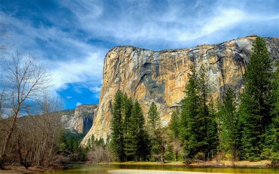 Обои Йосемитский национальный парк, Сьерра-Невада, голубое небо, горы, река, деревья