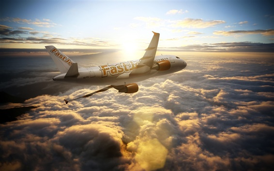 Wallpaper Airbus A300 aircraft, airliner, sky, sun, clouds