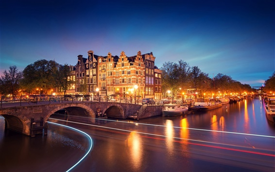 Wallpaper Amsterdam, Nederland, city, night, houses, bridge, canal, river, lights, boats
