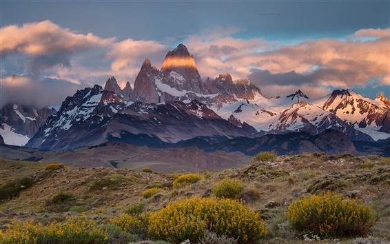 Papéis de Parede Argentina, Chile, Monte Fitz Roy, montanhas, nuvens, crepúsculo