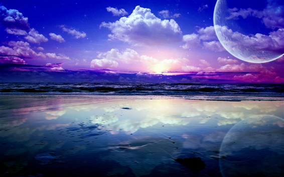 Wallpaper Art landscape, sea, waves, planets, sky, clouds, stars, water reflection