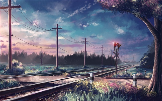 Fondos de pantalla Pintado, árboles, rieles, postes, ferrocarril