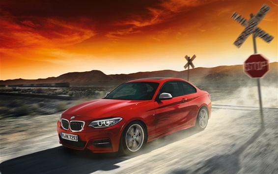 Papéis de Parede BMW Série 2 cupê vermelho, carro em velocidade