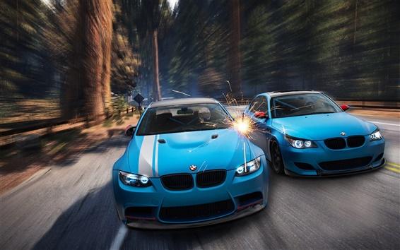 Wallpaper BMW M3 E92, M5 E60, blue car, forest, sparks