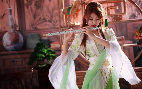 Papéis de Parede Linda menina chinesa, música, flauta