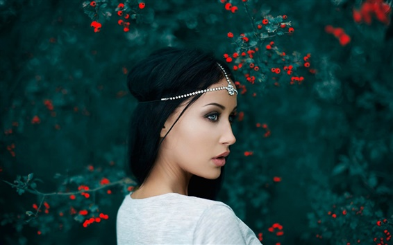 Wallpaper Beautiful girl, portrait, decoration, bokeh, berries