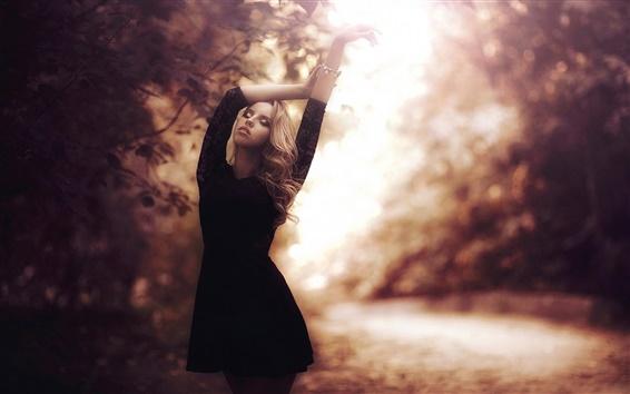 Wallpaper Blonde girl, black dress, autumn, park, glare