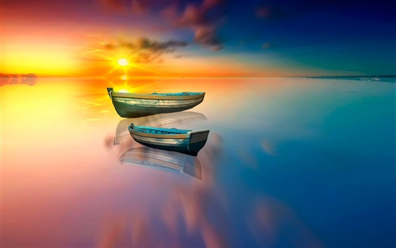 Wallpaper Boat, lake, water reflection, sun
