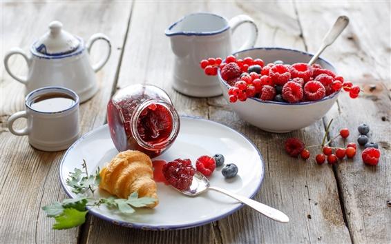 Wallpaper Breakfast, croissant, berries, raspberries, tea, tableware