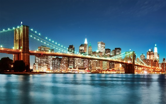 Wallpaper Brooklyn Bridge, New York, city, night lights