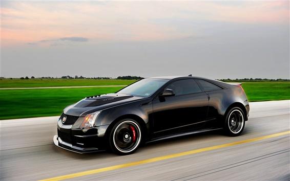 Wallpaper Cadillac CTS-V black car side view