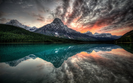 Wallpaper Canada, lake, mountains, sunset, water reflection