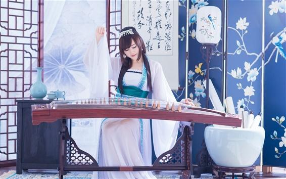 Обои Китайская девочка, ретро, цитра