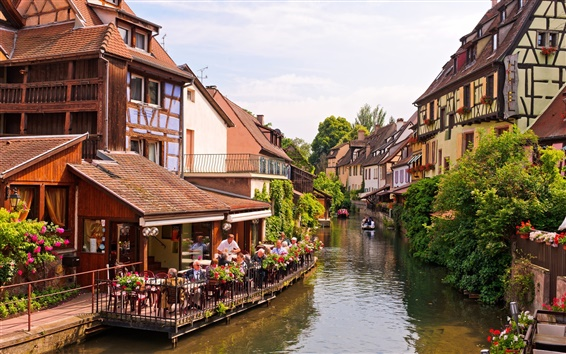 Wallpaper Colmar, Alsace, France, river, houses