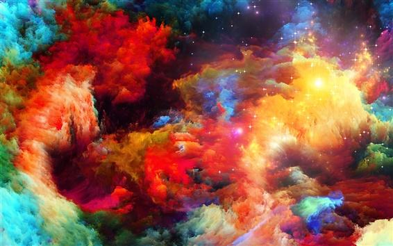 Wallpaper Colorful space, abstract design, stars