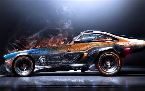 Обои Креативный дизайн, суперкар, дым, искры