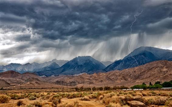 Wallpaper Eastern Sierra, Nevada, mountains, desert, lightning