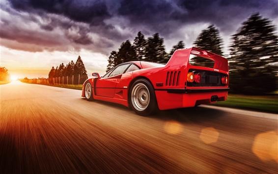 Обои Ferrari F40 красный суперкар на высокой скорости