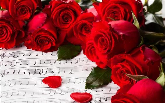 Fond d'écran Fleurs, roses rouges, Saint Valentin, la musique