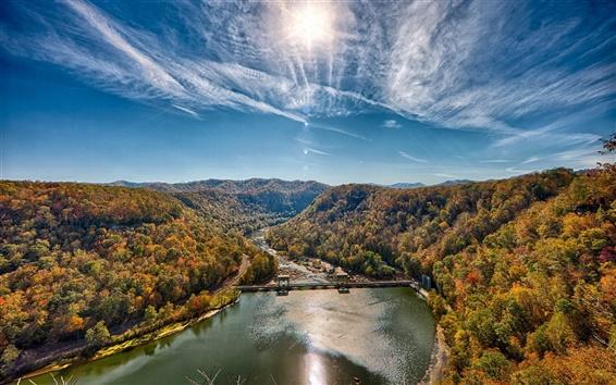 Wallpaper Forest, mountain, river, dam, sun