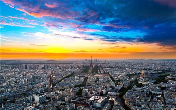 Wallpaper France, Paris, city street, houses, sky, clouds, dusk