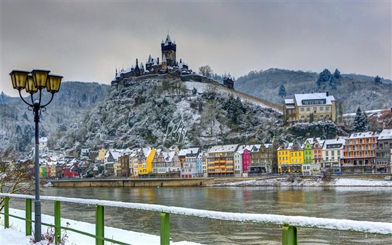 Wallpaper Germany, castle, fort, winter, house, river, snow