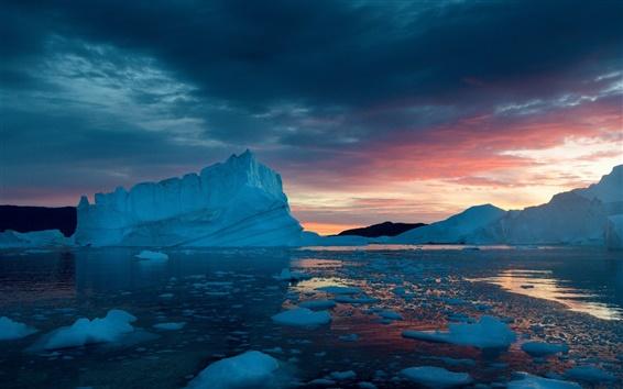 Wallpaper Greenland, snow, ice, sunset, sea